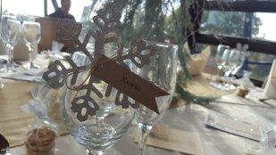 glitter snowflake place card - peg on glass