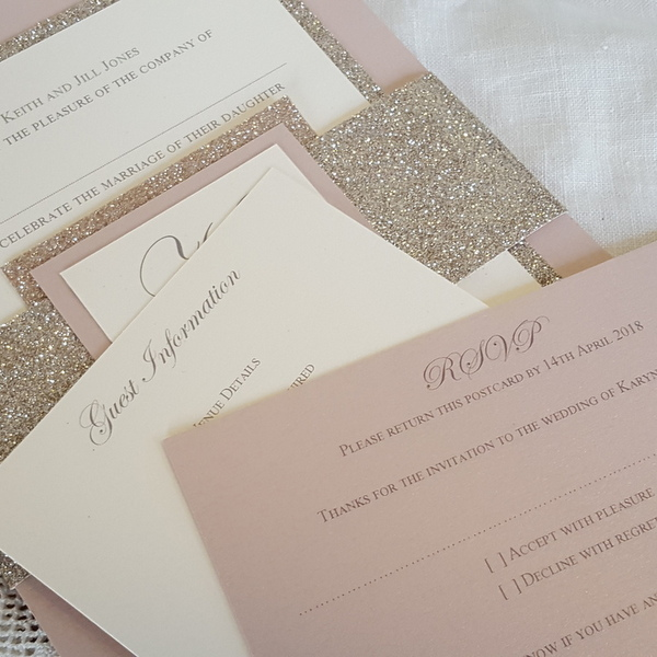 blush and gold rsvp and info cards