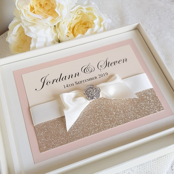 bows and bling blush and champagne guest book
