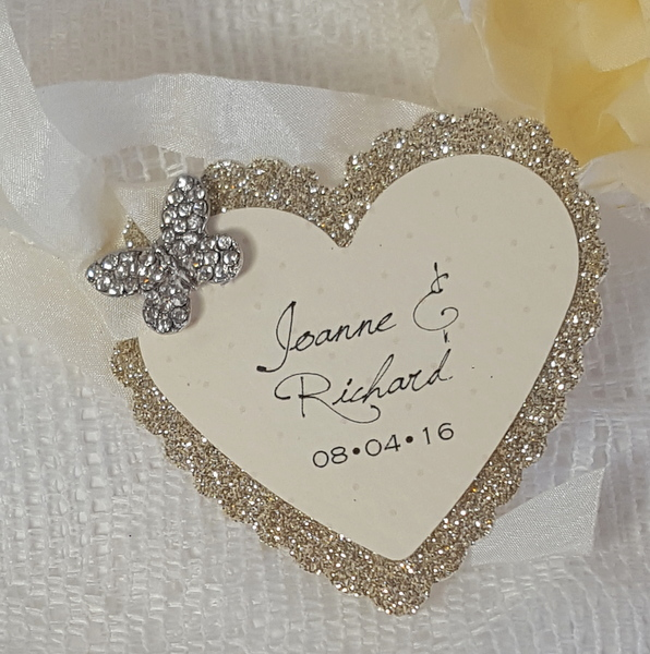 bows and bling heart shaped butterfly favour tag