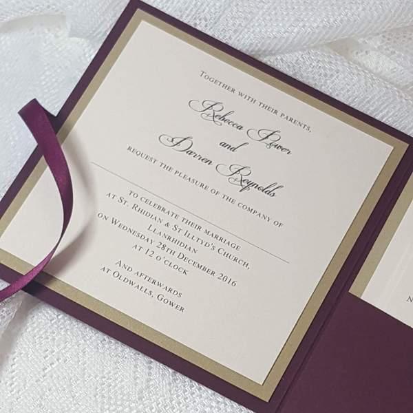 burgundy monogram invitation insert