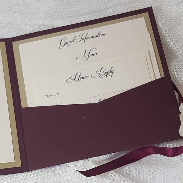 burgundy monogran invitation pocket