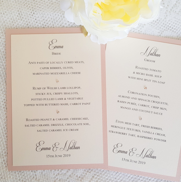classic ivory and blush wedding menu