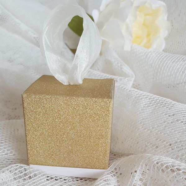 gold glitter wedding favour box