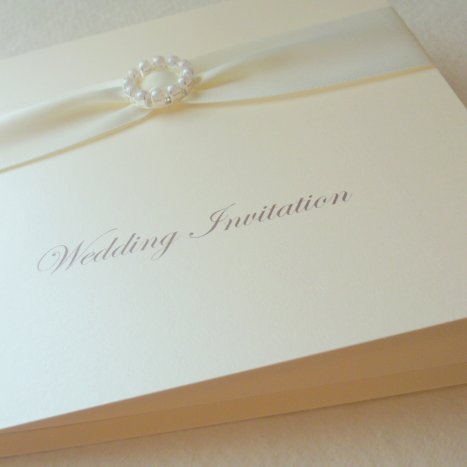 folded invitation pearl buckle