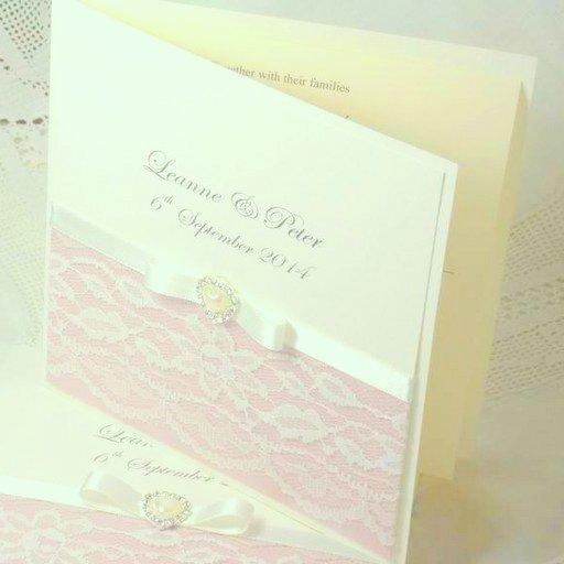 vintage lace folded invitation