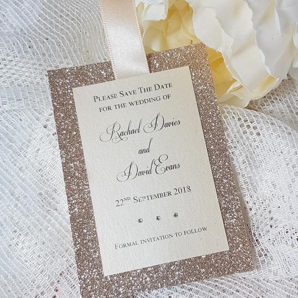 glitterati champagne and crea save the date