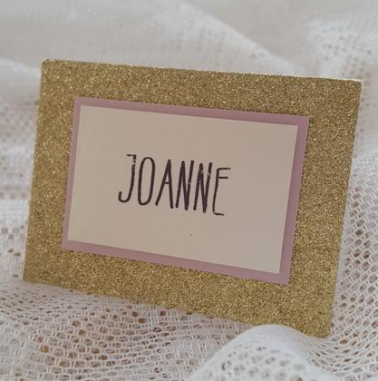 glitterati gold glitter place card