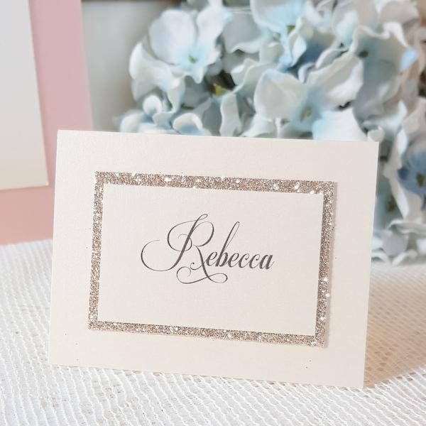 glitterati ivory and champagne glitter place card