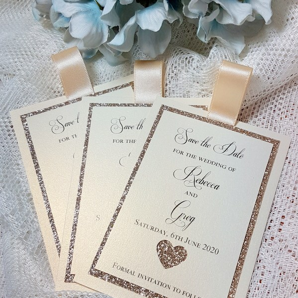 glitter save the date with heart
