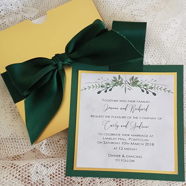 gold and greenery pull out invitation