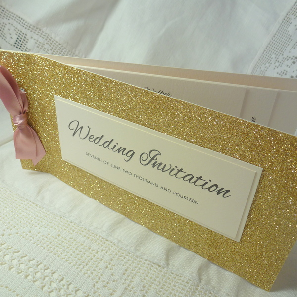 Glitter cheque book invitation