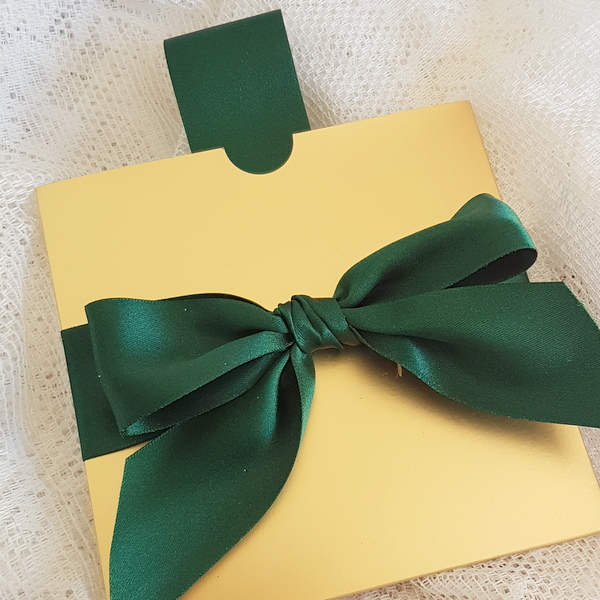 green and gold pull out invitation