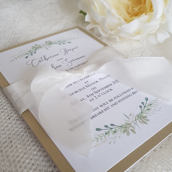 greenery and gold invitation with silk ribbon