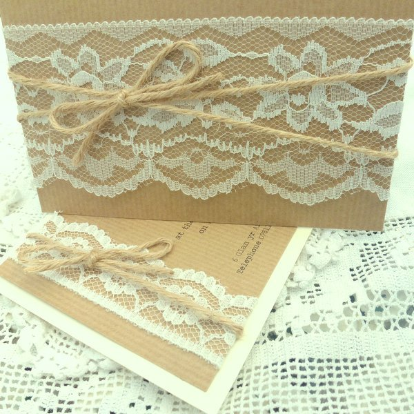 kraft lace and twine pocketfold wedding invitations