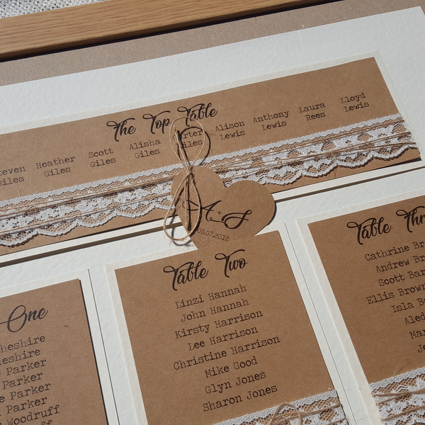 wedding table plan with lace and twine