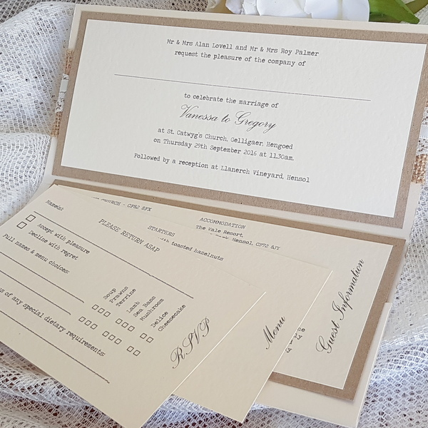 hessian lace ivory and kraft pocketfold insert