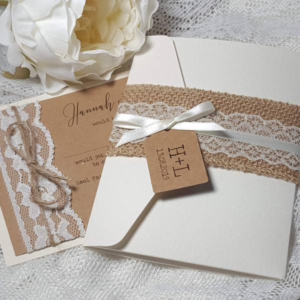 rustic wedding invitations with hessian lace and ribbon