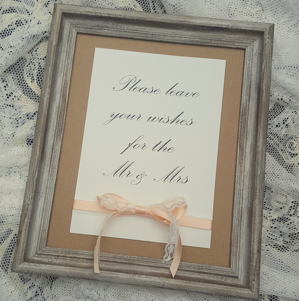 wedding sign with kraft, lace and peach ribbon