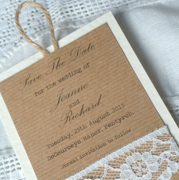 kraft and lace wedding save the date