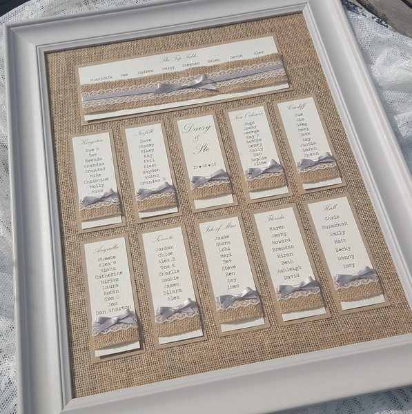 hessian backed rustic wedding table plan