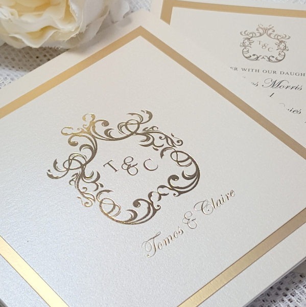 gold foil monogram invitation