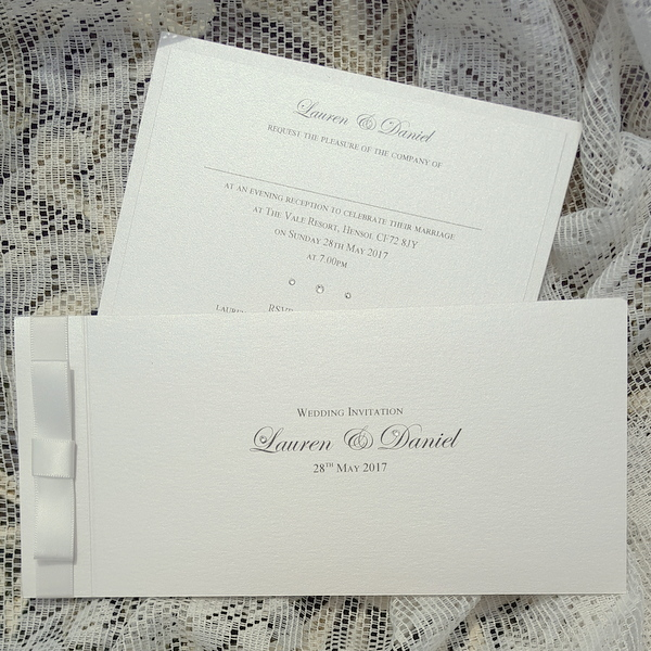 classic ivory dior bow invitations
