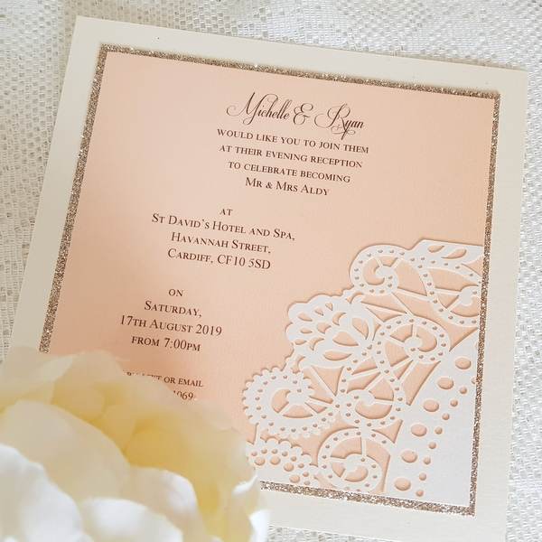 peach and champagne doily invitation