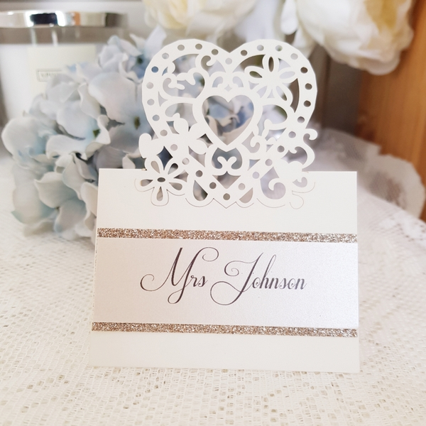 filigree heart wedding place card