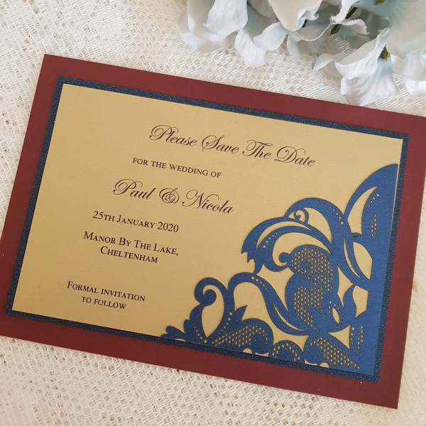 burgundy, gold and navy save the date