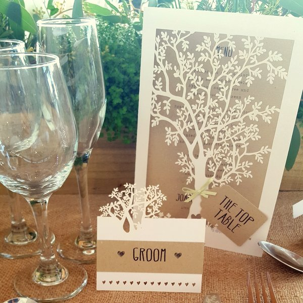 laser cut tree wedding place setting