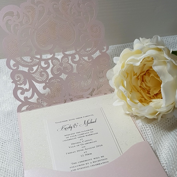 blush laser pocket invitation