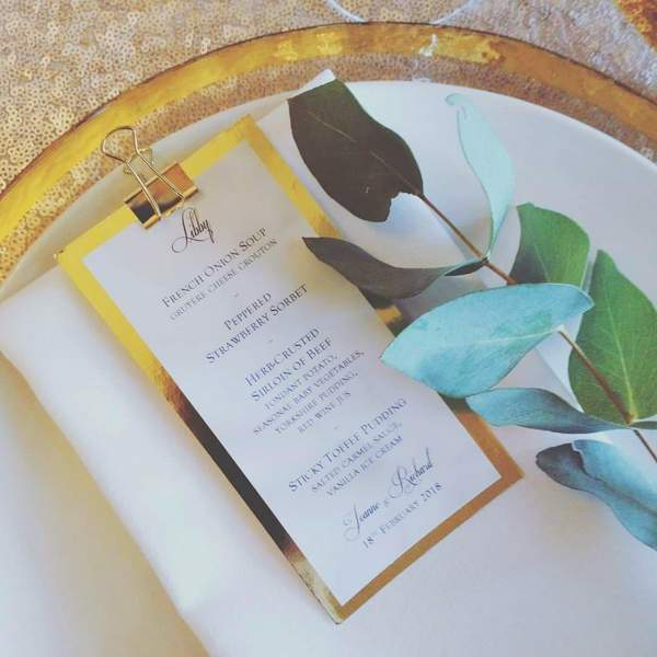 marble and gold mini clipboard wedding menu
