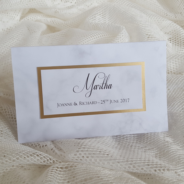 marble and brass wedding lotto ticket place card wallet