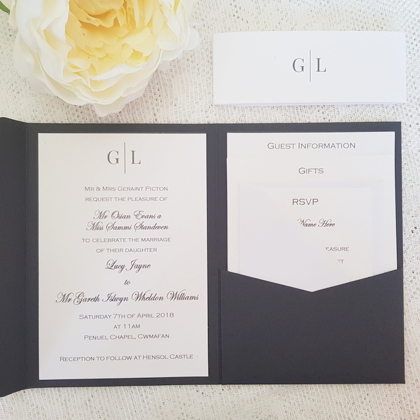 black and white modern pocketfold invitation