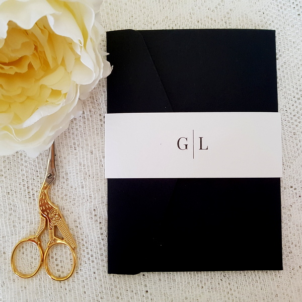black and white modern monogram invitation