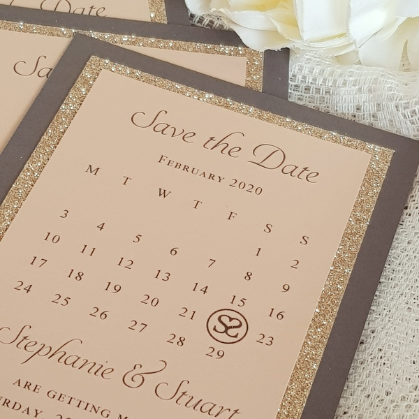 grey, glitter and blush wedding save the date cards