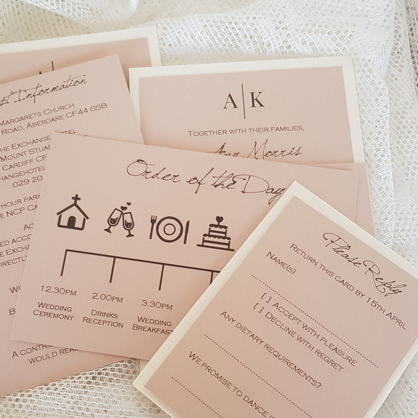 blush wedding invitation inserts