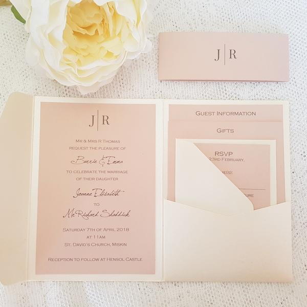 blush modern wedding invitations