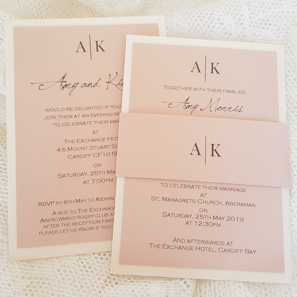 initials blush wedding invitation