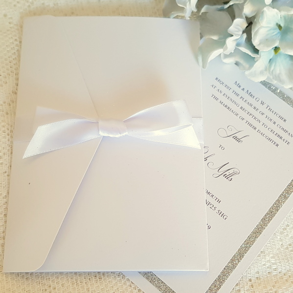 simple all white pocketfold wedding invitation