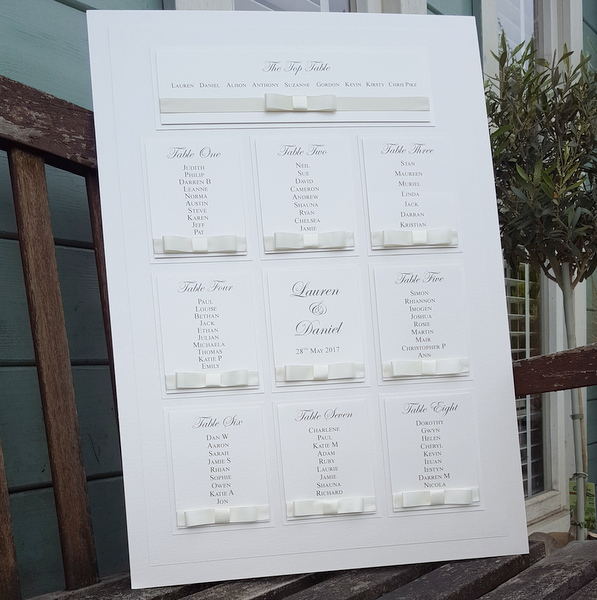 elegant white wedding table plan