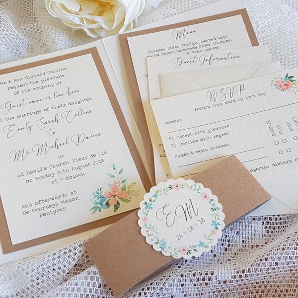 pocketfold invitation with floral print