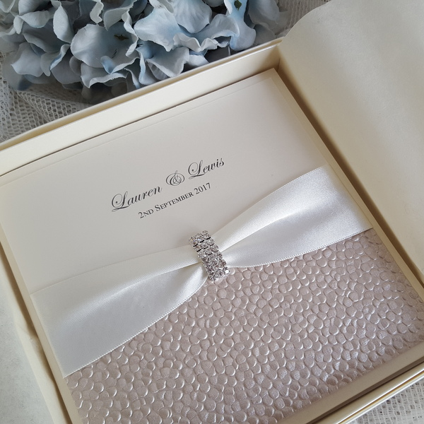 sequin sparkle ivory boxed pocketfold wedding invitation