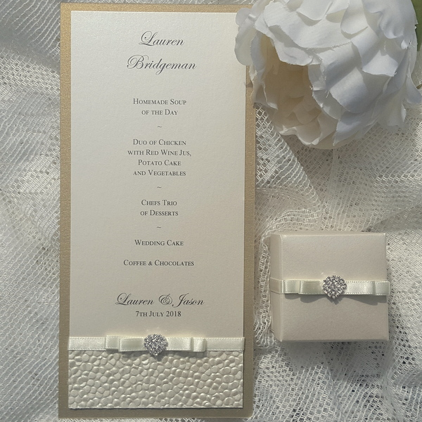 sequin sparkle menu and favour box in ivory and gold