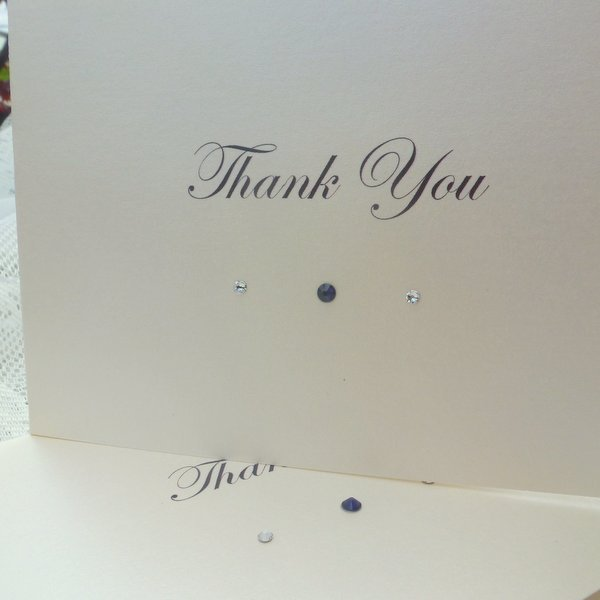 simple crystal wedding thank you card