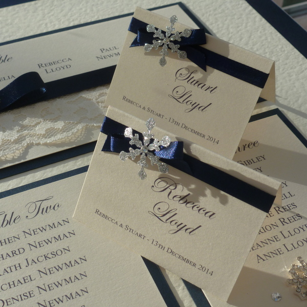 silver and navy winter wedding place cards