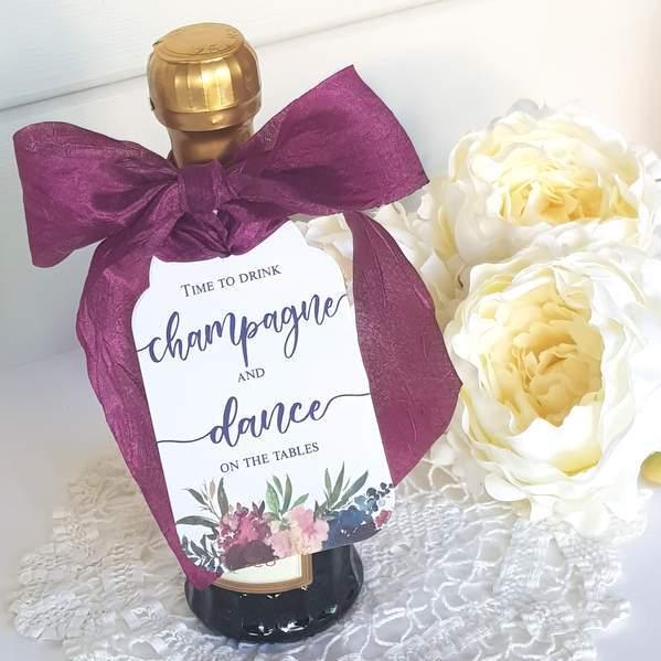 burgundy flowers wedding favour tag