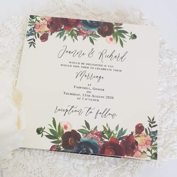 concertina handmade wedding invitation with burgundy flowers