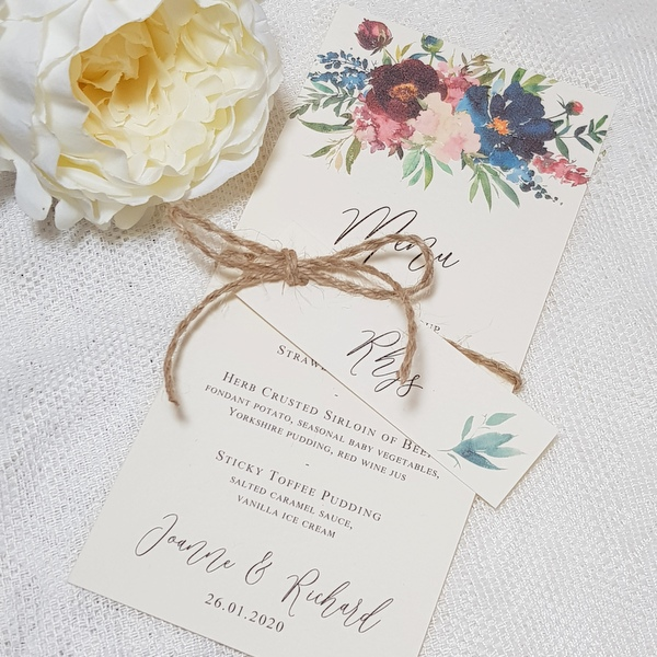 floral handmade wedding menu with rustic twine